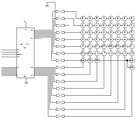 [Schematic of Color Computer 2 keyboard interface]