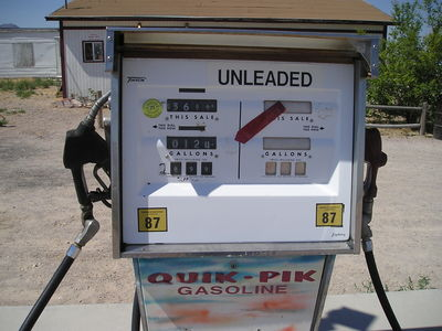 [Dig the old style gas pump, back when gas was below $1/gallon]