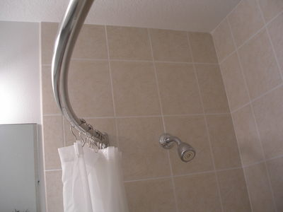 [A curved shower curtain rod]