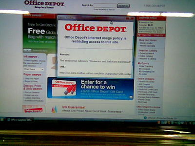 [Office Depot has determined that the Office Depot Web Site is dangerous and can't be used]