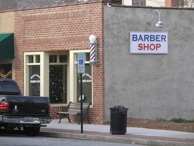 [Just your typical small town barber shop in Brevard]