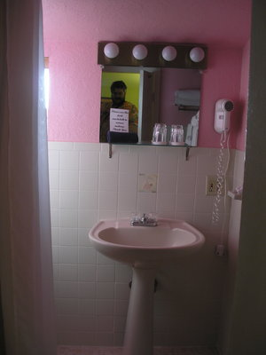 [The bathroom.  It's … uh … pink]