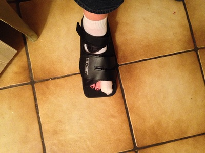 [And here we see the very latest in the Spring Line of Foot Braces.]