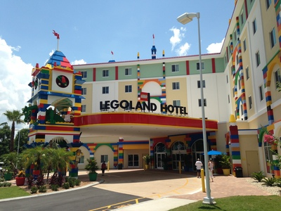 [It looks just like you would expect a hotel made out of Lego to look.]