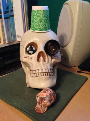 [Admit it, you are jealous of Yorick's fez, aren't you?  I know Mort is jealous of Yorick's fez, but he shouldn't be---it's just a paper cup (don't tell Yorick).]