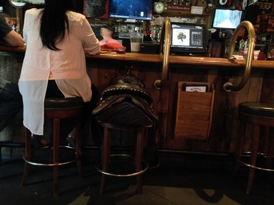 [Perhaps in Brevard, it is normal to have saddles as bar stools.]