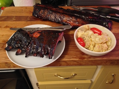 [Home barbecued ribs and home made potato salad (totally---even the mayonnaise is home made).  How can you go wrong?]
