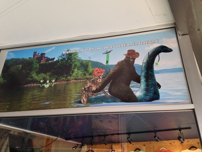 [Bigfoot and el Chupacabra vacation in Scotland. And then they get photobombed by the Creature from the Black Lagoon.]