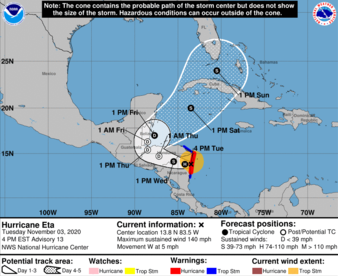 [Path of Hurricane Eta heads west, then take a hard turn to the northeast, right towards Florida—BOING!]